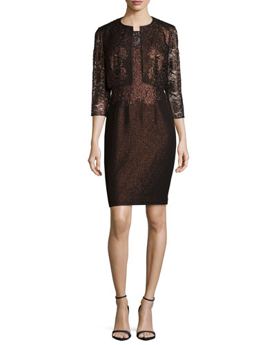 3/4-Sleeve Lace Cropped Jacket & Cap-Sleeve Lace Combo Cocktail Dress