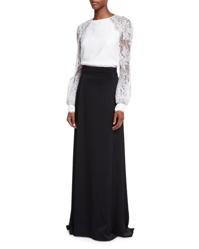 Lace-Sleeve Blouse & Satin Full Skirt