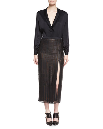 Shawl-Collar Charmeuse Blouse & Pieced Leather High-Slit Midi Skirt