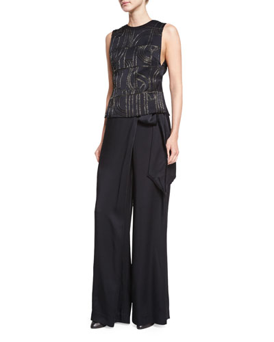 Embroidered Satin Shell Top & Wide-Leg Wrapped Satin Pants