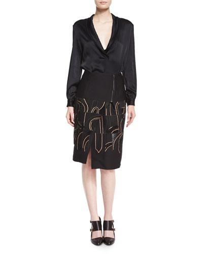 Shawl-Collar Charmeuse Blouse &  Abstract-Beaded Zip-Yoked Skirt