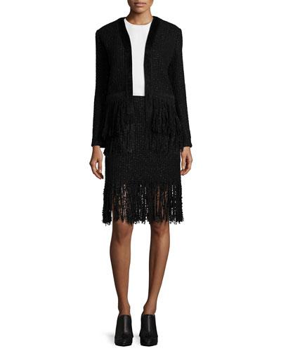 Fringe-Hem Open Tweed Jacket, Side-Button Slit-Back Shell Top & Tweed Fringe-Hem Mini Skirt