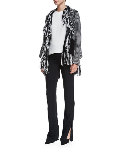 Mixed Knit Fringe Wrap Cardigan, Side-Button Slit-Back Shell Top & High-Waisted Flared Pants
