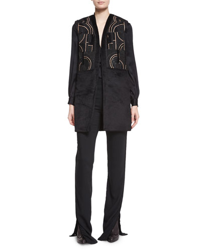 Abstract-Beaded Textured Long Vest, Shawl-Collar Charmeuse Blouse & High-Waisted Flared Pants
