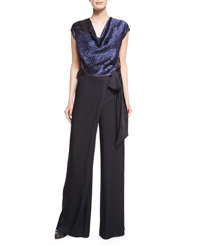 Cowl-Neck Lace Top & Wide-Leg Wrapped Satin Pants
