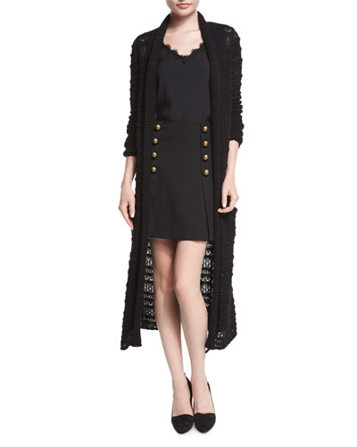 Long-Sleeve Textured Duster Cardigan, Sleeveless V-Neck Tank W/ Lace Detail & A-Line Mini Skirt with Button Detail