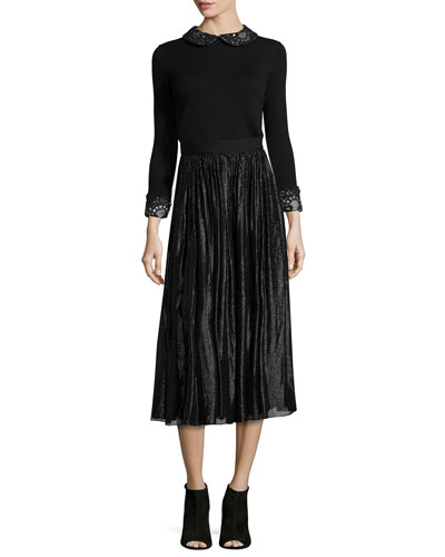 Lynda Wool Pullover Sweater & Rosemarie Silk-Blend Midi Skirt