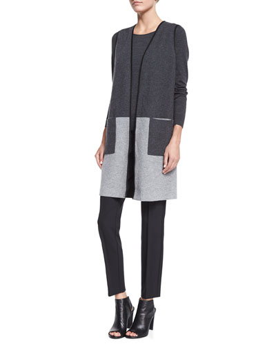 Plated Colorblock Wool Vest, Fine-Gauge Long-Sleeve Sweater & City Slim Pintucked Pants