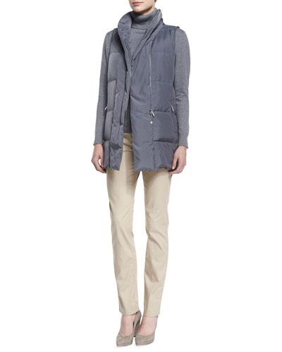 Adora Zip-Front Down Vest, Cotton-Cashmere Turtleneck & Slim-Leg Jeans