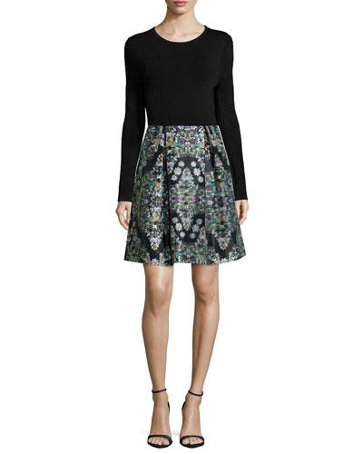 Long-Sleeve Crewneck Top & Resplendent Crystals Skirt