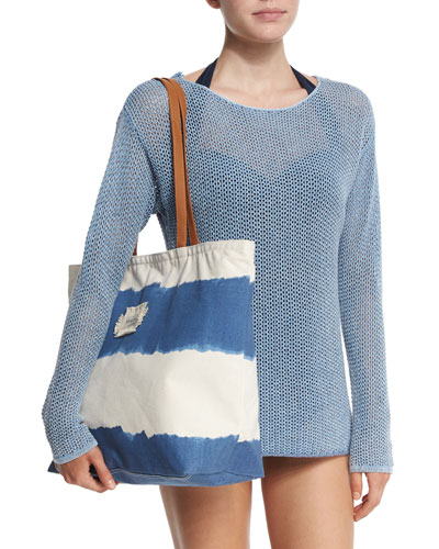 Indi Mesh Long-Sleeve Top & Indian Summer Stripe Tote Bag