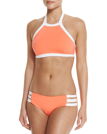 SeafollyBlock Party High-Neck Swim Top, Nectarine