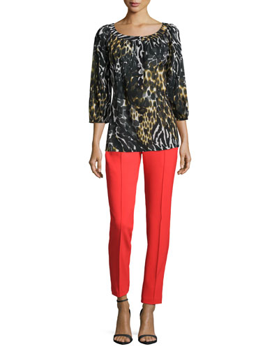 3/4-Sleeve Leopard-Print Blouse & Kait Tailored Cigarette Pants
