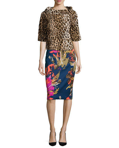 Leopard-Print Half-Sleeve Top & Miki Floral-Print Pencil Skirt