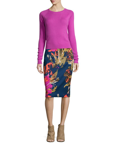 Jovi Long-Sleeve Crewneck Sweater & Miki Floral-Print Pencil Skirt