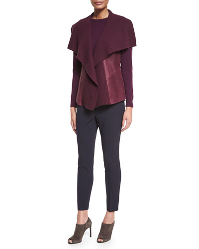 Melosa Ribbed-Collar Lambskin Vest, Cashmere Long-Sleeve Sweater & Stanton Stretch-Wool Pants,