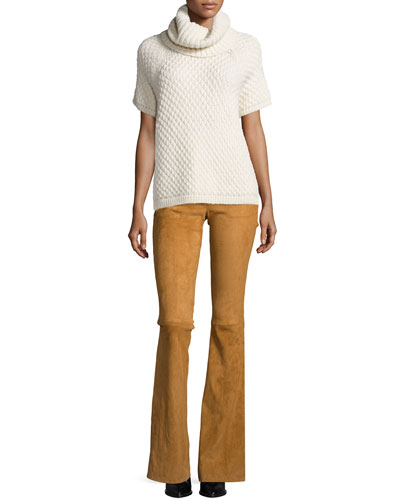 Short-Sleeve Alpaca Turtleneck Sweater & Suede Bell-Bottom Pants