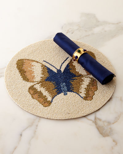 Butterfly Placemat, Royal Napkins, & Jewel Napkin Rings