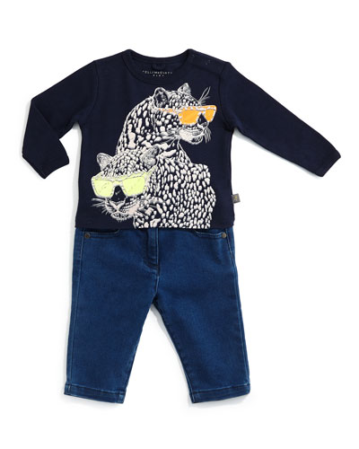 Sandy Leopard-Graphic Jersey Tee & Bob Stretch-Denim Jeans, Size 12-24 Months