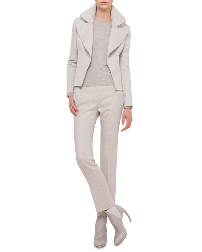 Slim-Fit Cashmere Jacket W/Wide-Zip Detail, Cashmere-Silk Knit Pullover Top & Carlota Narrow-Leg Tweed Pants