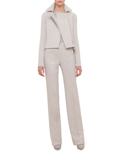 Long-Sleeve Ribbed Moto Jacket, Cashmere-Silk Knit Pullover Top & Carla Tweed Wide-Leg Pants
