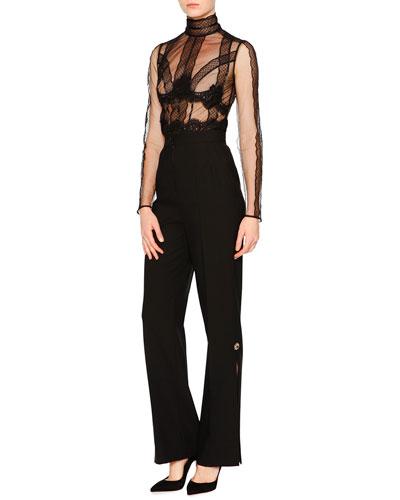 Tulle Long-Sleeve Sheer Blouse & High-Waist Wide-Leg Jewel Pants