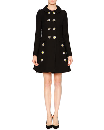 Embellished-Daisy Double-Breasted Coat & Sleeveless Dress