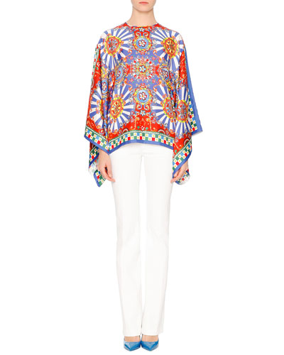 Flutter-Sleeve Carretto-Print Tunic & Mid-Rise Boot-Cut Jeans