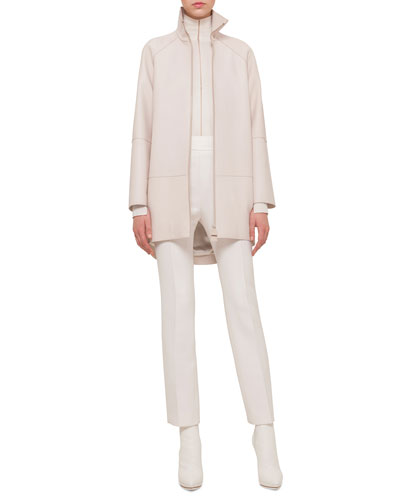 Long-Sleeve Leather Parka, Sheer-Seam Cashmere-Blend Top & Carlota Double-Faced Straight-Leg Pants
