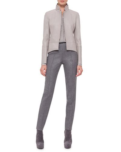 Long-Sleeve Leather Tailcoat Jacket, Long-Sleeve Gravel-Print Silk Top & Melissa Stretch Flannel Pleated Slim Pants