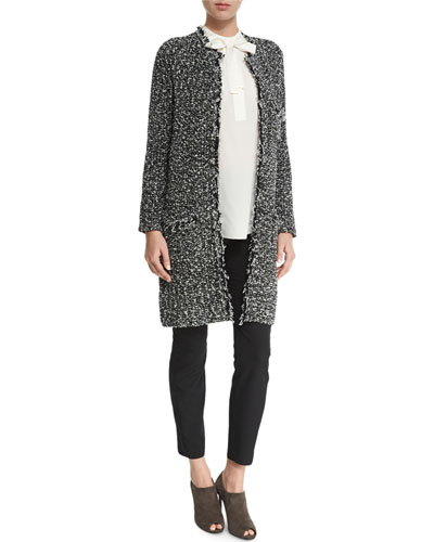 Open-Front Tweed Knit Coat, Tie-Neck Silk Blouse & Luxe Bi-Stretch Ankle Pants