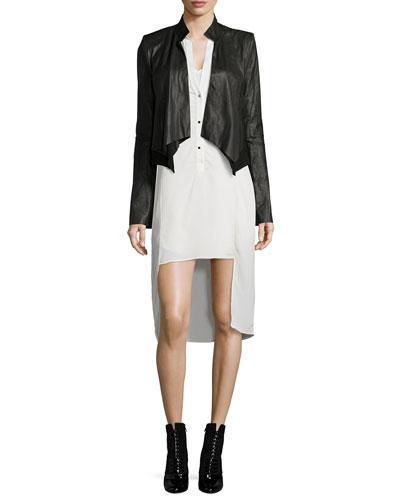 Long-Sleeve Leather Cropped Jacket & Long-Sleeve Tuxedo Shirtdress