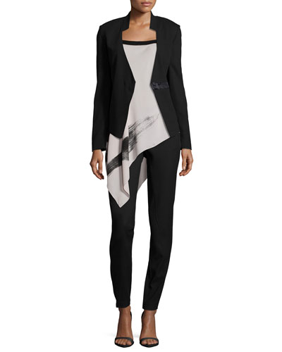 Long-Sleeve Fitted Blazer, Flowy Two-Tone Cami & Slim-Leg Pants W/ Patch Pockets