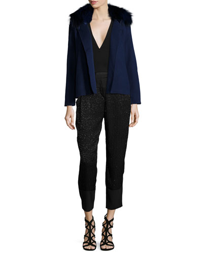 Double-Faced Jacket W/ Fox Fur Collar, Sleeveless Plunging V-Neck Top & Embellished Slim-Leg Ankle Pants