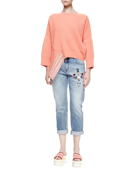 Stella McCartney Long-Sleeve Ribbed Sweater W/Lace Inset, Peony