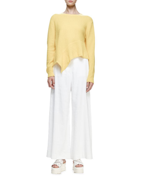 Stella McCartney Jewel-Neck Asymmetric-Hem Sweater, Sun