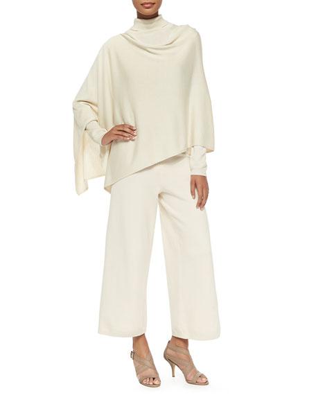 Silk-Cashmere Long-Sleeve Turtleneck, Ivory, Plus Size