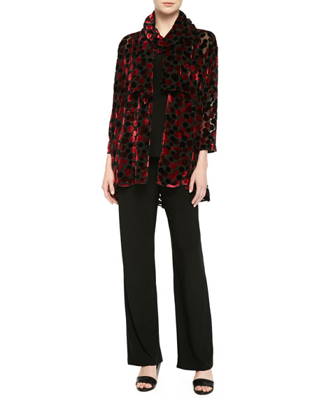 Caroline Rose Dancing Dot Jacket, Black/Red, Plus Size