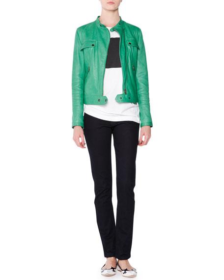 Tomas Maier Asymmetric-Zip Leather Moto Jacket, Grass