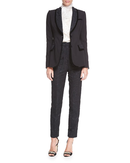 Dolce & Gabbana Shawl-Lapel Jacket W/Velvet Trim, Black