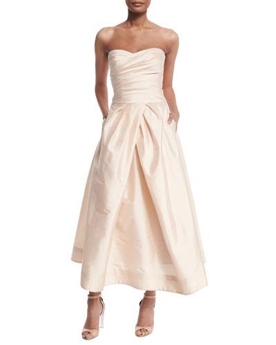 Strapless Sweetheart Taffeta Crop Top & Tea-Length Skirt