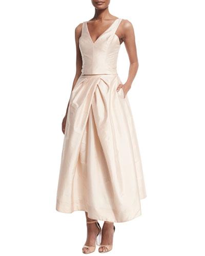 V-Neck Taffeta Crop Top & Tea-Length Skirt