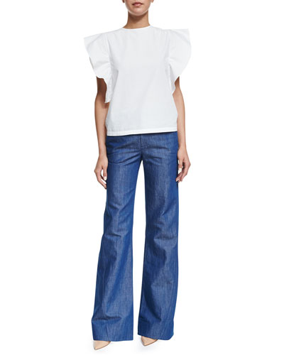 Co Butterfly-Sleeve Jewel-Neck Top & High-Waist Wide-Leg Jeans,