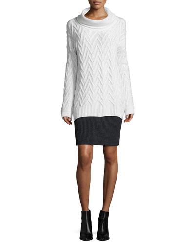 Long-Sleeve Turtleneck Tunic & Ribbed T-Shirt Skirt