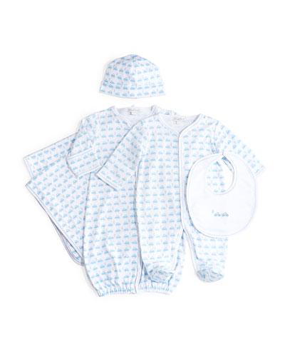 Motor Club Pima Sleep Gown, Footie Pajamas, Bib, Hat & Blanket, White/Blue