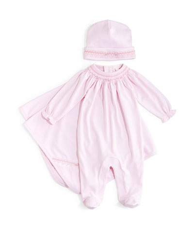 CLB Fall Bishop Pima Footie Pajamas, Baby Hat & Blanket, Pink