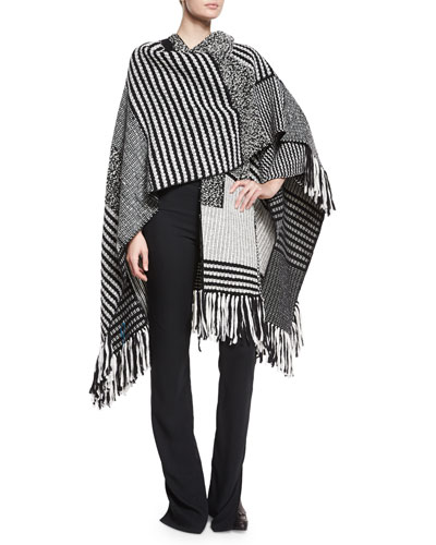 Mixed Knit Fringe-Trimmed Poncho & High-Waisted Flared Pants