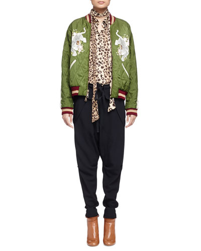 Reversible Diamond-Quilted Leopard-Embroidered Jacket, Leopard-Print Sash-Detailed Blouse & Folded-Waist Back-Zip Cuffed Harem Pants