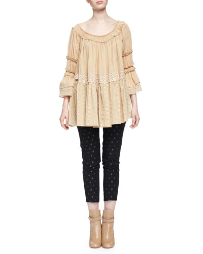 Off-The-Shoulder Eyelet Peasant Top & Metallic Diamond-Pattern Skinny Ankle Pants