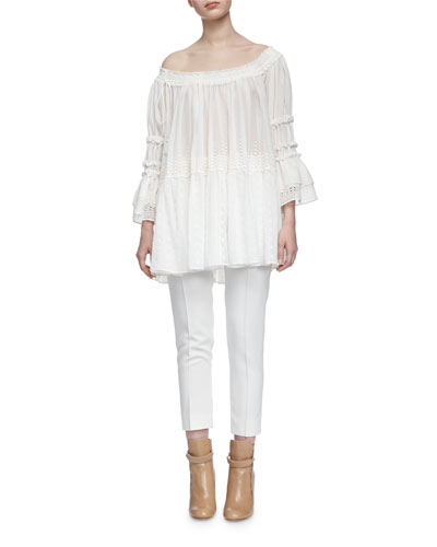 Off-The-Shoulder Eyelet Peasant Top & Skinny-Fit Cropped Pants